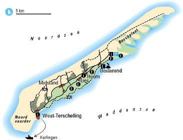Kaart Terschelling