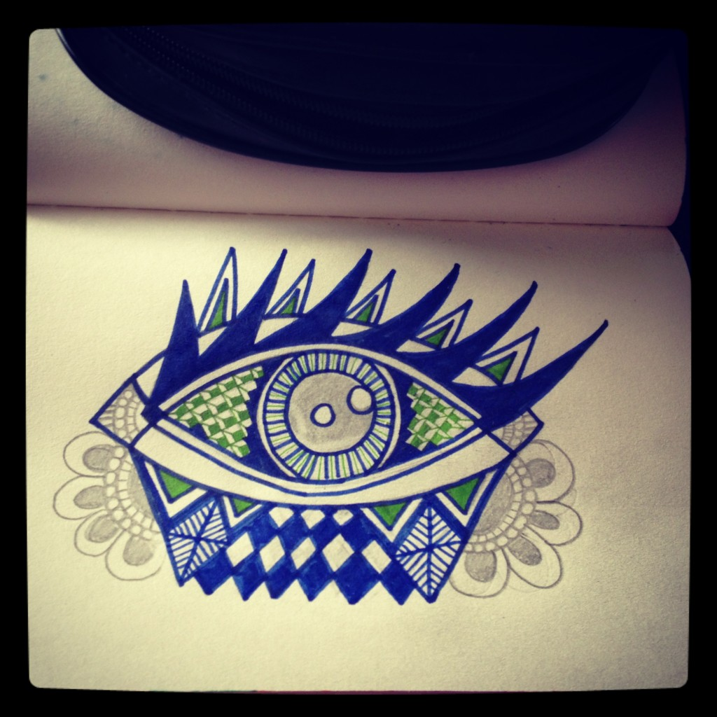 oog stap 2: eerste kleuren toevoegen (blauw en groen)